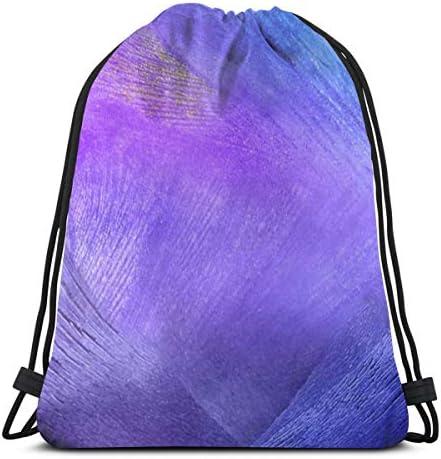 紫と青のデジタルファサードドローストリングバッグジムダンスバッグバックパックハイキングビーチトラベルバッグ36 x 43cm