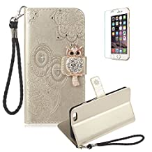 Funyye Gold Strap Cover for iPhone 6,Cute 3D Diamond Owl Pattern Design Magnetic Flip Wallet Detachable Glitter Case with Stand Card Holder Slots Cover for iPhone 6S,Anti Scratch Full Body Protective Soft Silicone PU Leather Case for iPhone 6/6S + 1 x Free Screen Protector