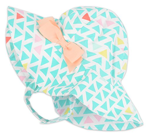 Toddler Baby Kids Cotton Sun Protection Brim Hat, Green Turquoise White Triangles, 2T-4T