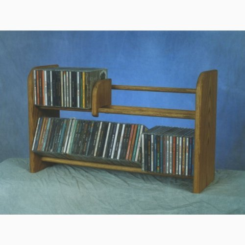 24.25''W Solid Oak 2 Row Dowel CD Rack by Wood Shed