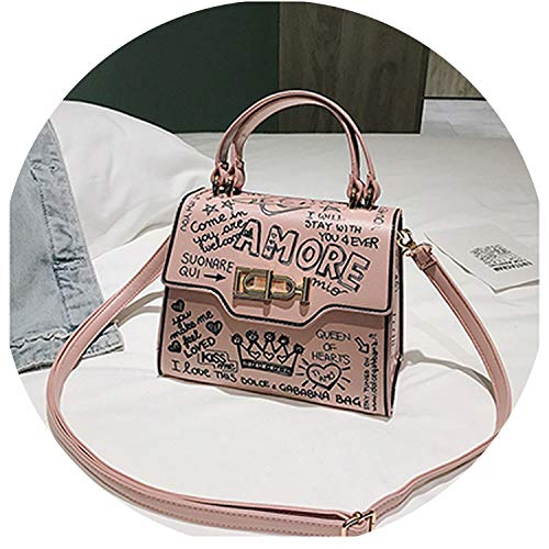 Designer Fashion Graffiti Women Handbag Pu Leather Small Flap Bag Luxury Crossbody Bag For Women Evening Clutch Purse 2019,Pink
