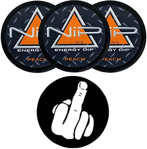 Nip Energy Dip Peach 3 Cans with DC Crafts Nation Skin Can Cover - Middle Finger