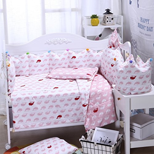 Brandream Sea Whale Ocean Crib Bedding Set With Bumper,Pink Nursery Bedding Set For Girl,Idear Baby Shower Gift,7pcs by Brandream