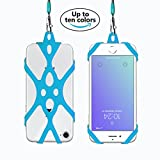 Rocontrip Silicone Case Phone Holder with Detachable Lanyard Strap for iPhone 7 6S iPhone 6S Plus,Samsung, 4.0-5.5 inch (Wathet Blue)