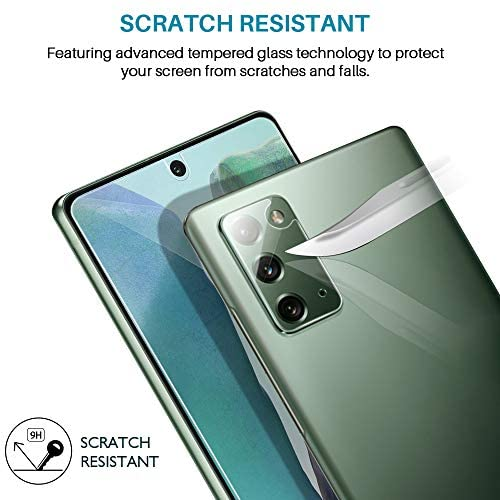 4 Pack LϟK 2 Pack Tempered Glass Screen Protector + 2 Pack Camera Lens Protector Compatible for Samsung Galaxy Note 20, New Version, Ultrasonic Fingerprint Supported, Installation Tray - Clear