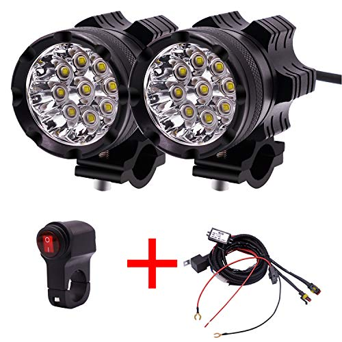 - GZLMMY 2Pcs Motorcycle LED Headlights 12V 90W 11000LM LED Motorbike Beam Headlamp Moto Spot Head Light Auxiliary Lamp DRL with Switch (Black)