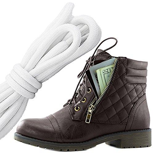 Dailyshoes Donna Militare Allacciatura Fibbia Stivali Da Combattimento Caviglia Alta Esclusiva Tasca Per Carte Di Credito, Bianco Nero Marrone Pu