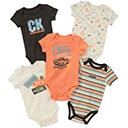Calvin Klein Baby Boys 5 Pack Bodysuits, Black/Gray/Red, 3-6 Months