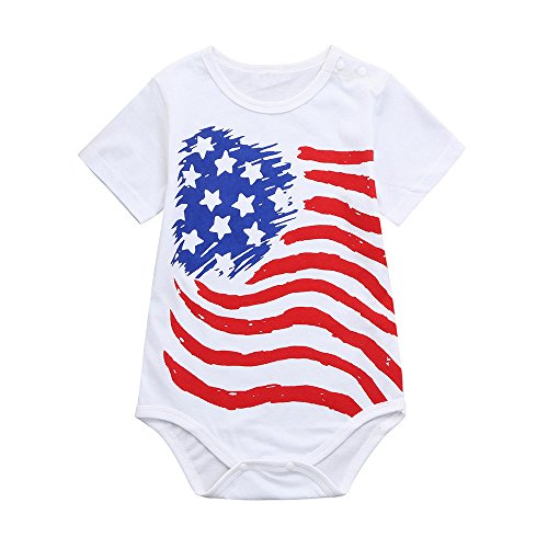 Funny American Flag Patriotic Romper Romper for Newborn Infant Boys Girls Bodysuit Jumpsuit Clothes (24M, ()