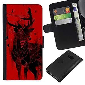 KLONGSHOP // Tirón de la caja Cartera de cuero con ranuras para tarjetas - Ciervos de la Navidad arte Dibujo Mariposas rojas - HTC One M7 //