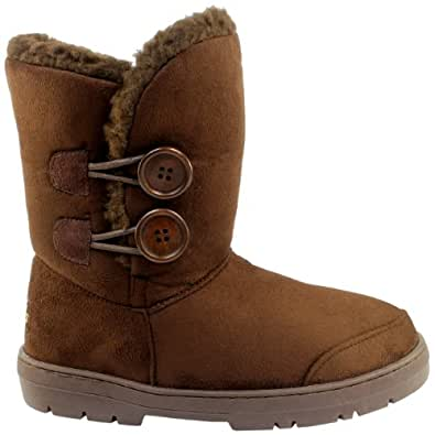 Womens Tan Faux Fur Lined Thick Sole Button Winter Snow Boots - Brown - 6 - 37 - AEA0101