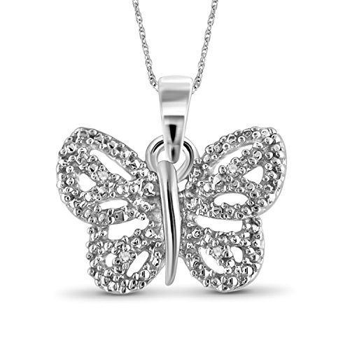 Jewelexcess White Diamond Accent Sterling Silver Butterfly Pendant