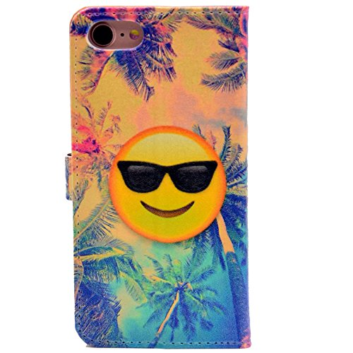 iphone 7 Case Smiley Emoji With Sunglasses and Coconut Tree Pattern Leather Wallet Case Stand Cover with Cash Card Slots for Apple iphone 7 ,iphone 8 (2017) New Arrival - - Sunglass Smiley