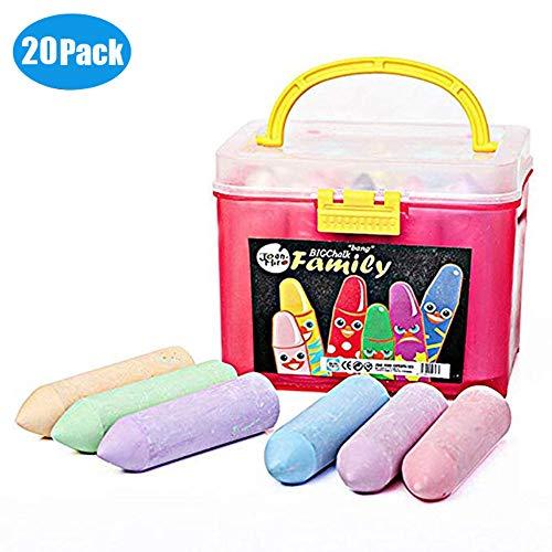 Babyrise 20PCs Non-Toxic MultiColor Sidewalk Chalk Parties Sidewalk Games Hopscotch Tic-Tac-Toe Four Square