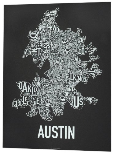 "Austin Neighborhoods Map, Black & White, 18"" x 24"""