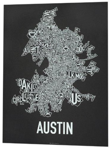 "Austin Neighborhoods Map, Black & White, 18"" x 24"""