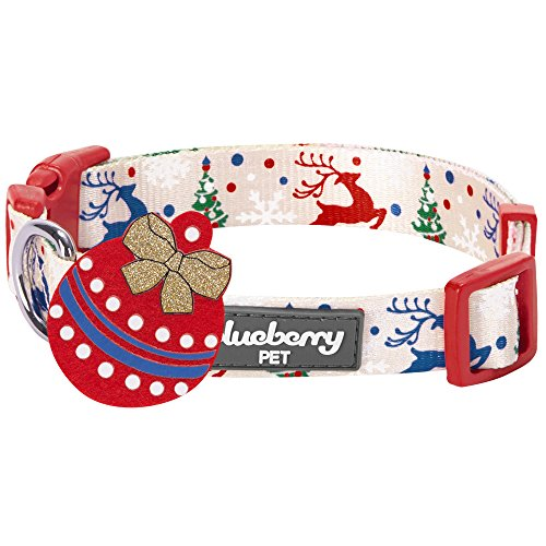 Blueberry Pet 14 Patterns Christmas Holiday Excellence Magical Joy Designer Dog Collar, Large, Neck 18-26, Adjustable Collars for Dogs