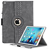 (US) iPad Pro 12.9 Case, BENTOBEN [Apple Pencil Holder] [Retro Studded] 360 Degree Rotating [Auto Sleep / Wake Feature] Faux Leather Smart Cover Protective Case for iPad Pro 12.9 Inch, Iron Gray
