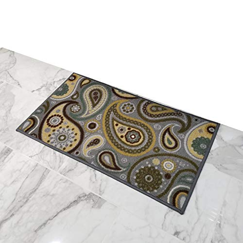 Doormat 18x30 Gray Paisley Kitchen Rugs and mats | Rubber Backed Non Skid Rug Living Room Bathroom Nursery Home Decor Under Door Entryway Floor Carpet Non Slip Washable | Made in Europe