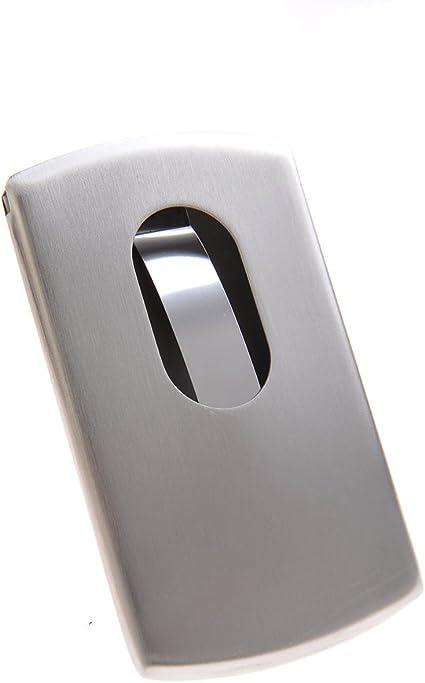 Tarjetero/Estuche para tarjetas de visita, discreto y elegante, con la superficie brillante y mecanismo de extracción, 301: Amazon.es: Oficina y papelería