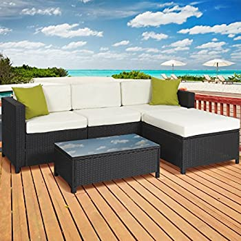 High Quality 5PC Rattan Wicker Aluminum Frame Sofa Set Cushioned Sectional Outdoor  Garden Patio Furniture
