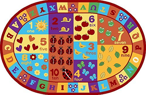 Furnish my Place Kids ABC Area Rug Educational Alphabet Letter and Numbers Multicolor Actual Size Anti-Skid, Oval by Furnish my Place (Image #2)