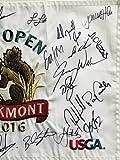 U.S. Open golf Flag oakmont dustin johnson field autographed 2016 pga