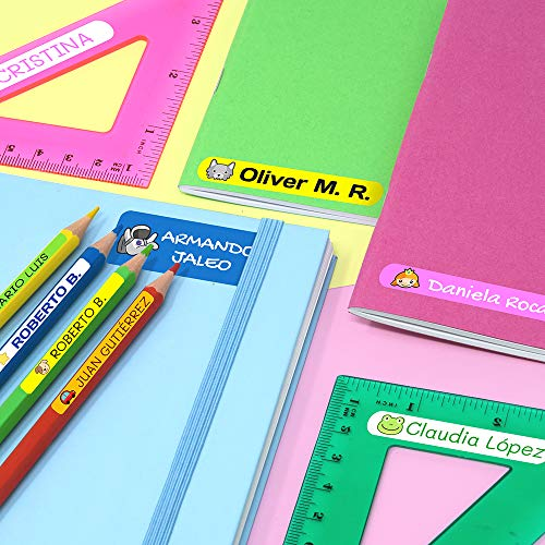 Books Color Pink Basic etc Lunch Boxes 50 Personalized Adhesive Labels for Marking Objects 6 x 1 cm