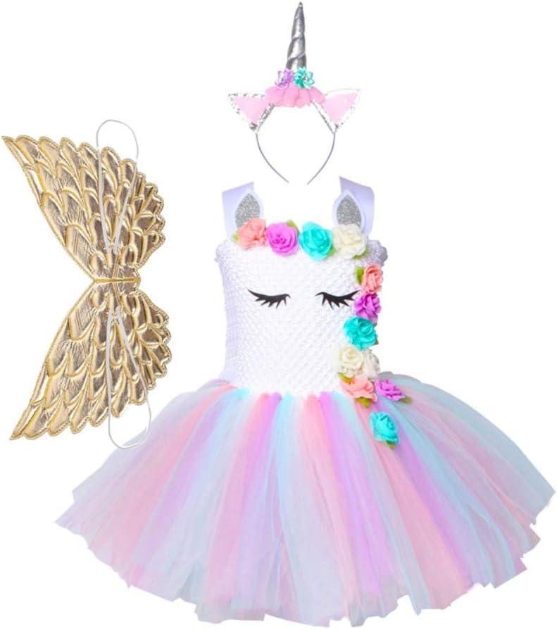 BLOIBFS Unicornio Princesa Tutú Vestido Disfraces Niña Vestido ...