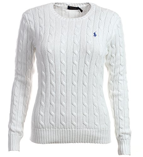 Ralph Lauren Women's Crewneck Cable Knit Pony Logo Sweater (XS, White) (X-small Cable Knit)