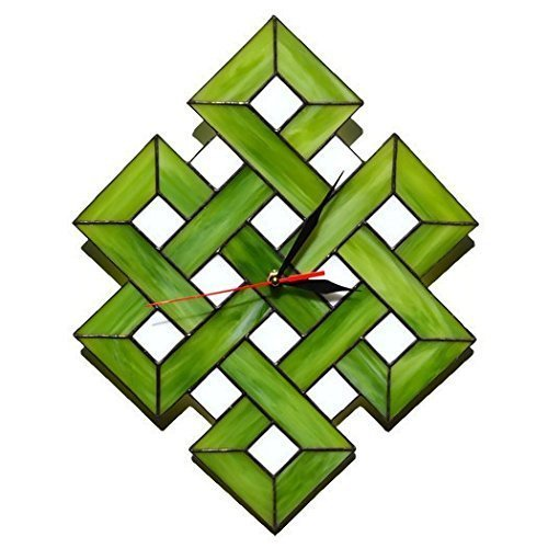 Handmade Large Celtic Shield Knot Stained Glass Wall Clock Green