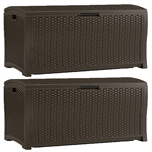zwan Gallon Extra Large Resin Wicker Deck Box with Latching Lid (2 Pack) with ()
