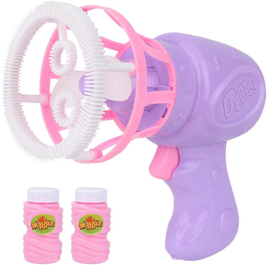 Webla Juguetes musicales eléctricos para niños Soplador Pistola de burbujas Máquina automática de burbujas Juguetes al aire libre(Púrpura)