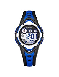 Dayllon Children Swimming Sports WristWatch Boys Girls LED Digital Wacthes for 5-12 Years Old Kids Black&Blue #Pdyl-1