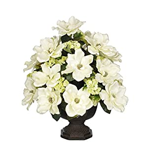 House of Silk Flowers Artificial Cream Magnolia with Snowball in Brown Garden Urn 8
