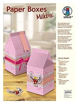 Ursus Crazy Hearts - Set para el montaje de 5 cajas de papel para regalo con