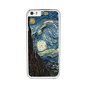 Insomniac Arts - Starry Night by Vincent Van Gogh- iPhone 6 Cover, Cell Phone Case - White Silicone Rubber Sides