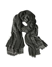 GERINLY Fashion Men Scarves Soft Warm Crinkle Scarf (Black)