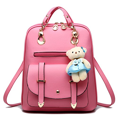 Christmas Gift Sweet PU Leather School College Travel Outdoor Bag Girls  Backpack with Bear Decoration - Buy Online in Oman.  163ae5732aa01