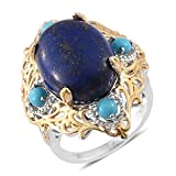 Lapis Lazuli Sleeping Beauty Turquoise Zircon 14K YG and Platinum Plated Sterling Silver Ring Size 10
