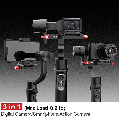 Hohem All in 1 3-Axis Gimbal Stabilizer for Compact Cameras/Action Camera/Smartphone w/ 600° Inception Mode, 0.9lbs Payload for iPhone 11 Pro Max/Gopro Hero 8/Sony Compact Camera RX100 – iSteady Multi 51QnigTKSKL