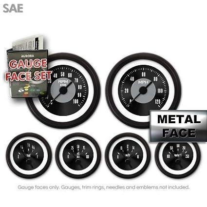 GARFE8 American Classic Black IV Gauge Face Set Aurora Instruments