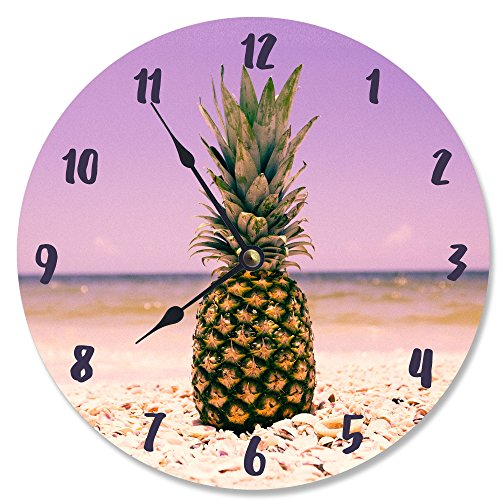 (The Stupell Home Decor Collection Stupell Industries Pineapple on the Beach Vanity Clock, Proudly Made in USA)