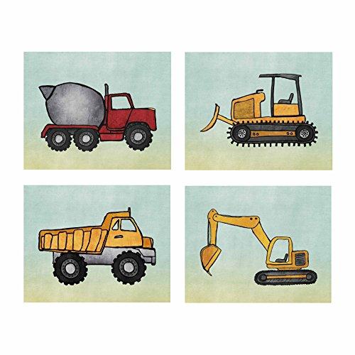 "Artdash® Brand Decorative Bedroom Art Prints (DR192): HEAVY EQUIPMENT ~ Kids Construction on Whispy Blue (8"" by 10"" (set of 4))"