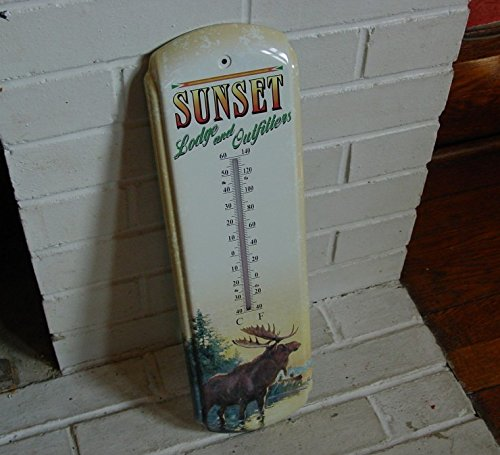Sunset Lodge Moose Indoor Outdoor Thermometer Rustic Log Cabin Home Decor