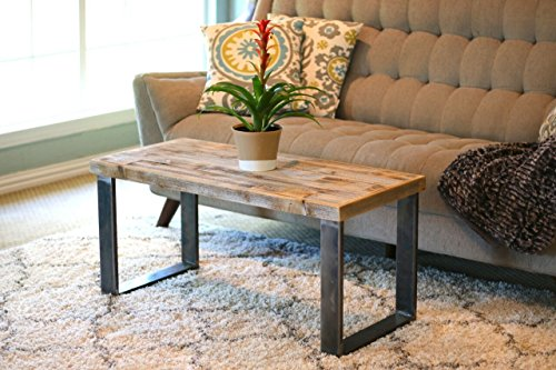 Industrial Natural Square Leg Coffee Table (Wood Reclaimed Coffee Square Table)
