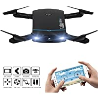 Littleice Foldable 720P HD Camera Drone Wifi FPV 2.4G 4H App Control RC Quadcopter Toy Gift (Black)