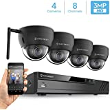 Amcrest 8CH 3MP Security Camera System w/ 4K (8MP) NVR, (4) x 3-Megapixel IP67 Weatherproof Metal Dome Wi-Fi IP Cameras (2304x1296P), 3.6mm Wide Angle Lens, 98ft Nightvision (Black)