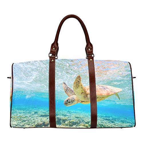 Large Leather Travel Duffel Bag For Men Women Turtle Diving Back Reef Shallow Lagoon Printing Waterproof Overnight Weekend Bag Luggage Tote Duffel Bags For Travel Gym Sports School Beach