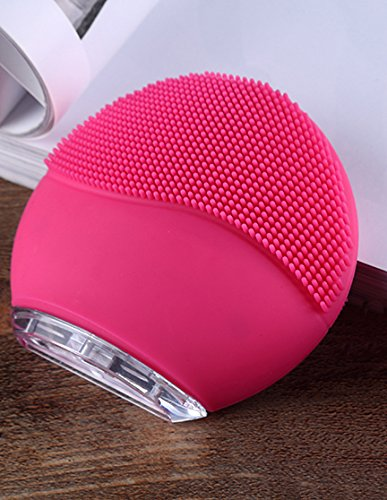 Facial Cleansing Massage Brush Ultrasonic Electric USB Charging & Waterproof for Women Teen Girls Makeup Wash (Fuchsia)